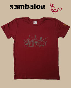 "Sambalou T-shirt 100% coton biologique / article : T-shirt ""Sambadance"" red"