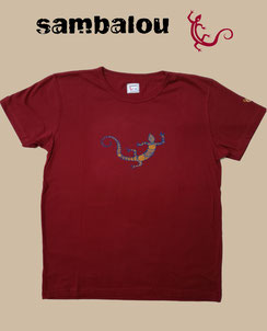 "Sambalou T-shirt 100% coton biologique / article : T-shirt ""Salamandre 2 colors"""" red"