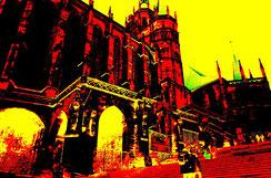 Der Erfurter Dom in einem üppigen Posterization Effekt