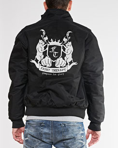 Jacke Windbreaker schwarz mit grauer Stickerei