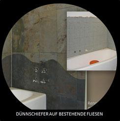 Schiefer- und Glimmerstein als Duschrückwand