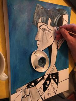 Erwin möchte sich dem Kubismus nähern und kopiert erstmal...
