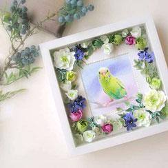 ペット似顔絵/花のフレーム