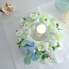 粘土のお花とリボンで作る