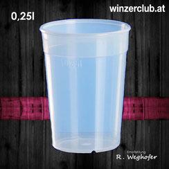 Mehrwegbecher, 0,25l, transparent, verleih, ausleihen, Wien, Vösendorf, winzerclub.at, landgut weghofer