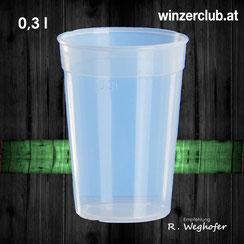 Mehrwegbecher, 0,3l, transparent, verleih, ausleihen, Wien, Vösendorf, winzerclub.at, landgut weghofer