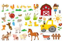 Wandtattoo Wandaufkleber Wandsticker günstig online kaufen  Mädchenzimmer Mädchen Zimmer Kinderzimmer Baby Kind  Bauernhof Farm Tiere Bauer Schaf Schwein Traktor Hahn Henne Zaun Pferd Pony Schaf Katze Hund Ente