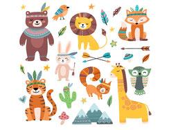 Wandtattoo Wandaufkleber Wandsticker günstig online kaufen  Mädchenzimmer Mädchen Zimmer Kinderzimmer Baby Kind  Indianer süß Giraffe Löwe Tiger Kaktus Hase Vogel Feder