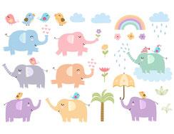 Wandtattoo Wandaufkleber Wandsticker günstig online kaufen  Mädchenzimmer Mädchen Zimmer Kinderzimmer Baby Kind  Elefanten Vögel Regenbogen Wolken Geschenk Palme Regen