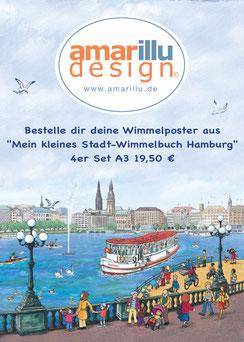 """Bestelle dir deine Wimmelposter aus  """"Mein kleines Stadt-Wimmelbuch Hamburg""""4er Set A3 19,50 €"""