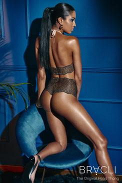 Bracli Sydney Perlenstring Panty in schwarz