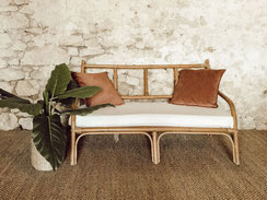 Banquette rotin vintage