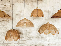 suspension lumineuses rotin vintage