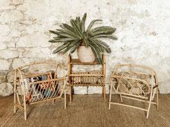 Location accessoires  / décoration en rotin vintage
