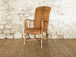 fauteuil rotin vintage