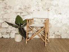 Fauteuil metteur en scène rotin bambou vintage