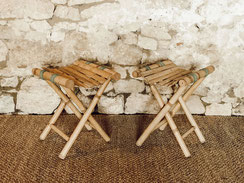 Tabouret rotin bambou vintage