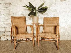 Location fauteuils / meubles / décoration en rotin vintage