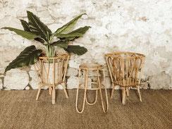 porte-plantes rotin vintage