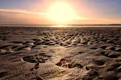 Sonnenuntergang über Sandstrand