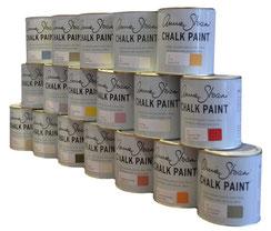 es werden einzelne Farbdosen von Annie Sloan gezeigt in unterschiedlichen Farbtönen