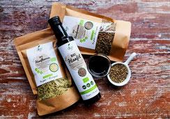 Hanföl, Hanfsamen, Hanföl, Samen, Öl, vegan glutenfrei Rohkost regional Bio