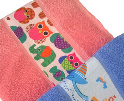 Promotional towel with printable polyester border