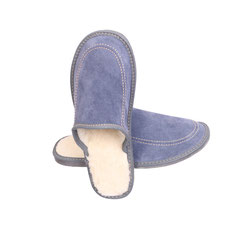 Pantoufles fourrées homme bleu