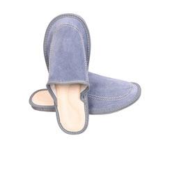 Pantoufles en cuir de vachette pour homme voute plantaire intérieur cuir naturel bleu