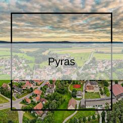 Luftbildaufnahmen aus Pyras Pyraser