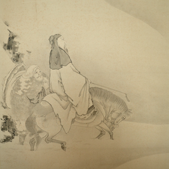 Kanō Eigaku (1790-1867) | Pair of Screens with four famous Chinese Poets