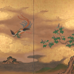 Kanō School (18th C.) | Two-panel Screen with Phoenix and Paulownia Tree
