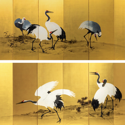 Mochizuki Gyokkei (1874-1939)   Pair of six-panel painted screens with Cranes