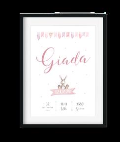 Geburtstafel Namenstafel Poster Geburt