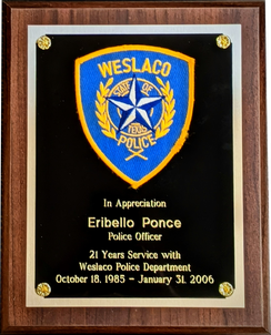 Years of Service Award Plaque - Patch Mounted, Diamond Bit Engraved