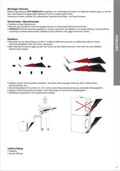 Infografiken für die Verwendungsbeschreibung eines Sounddiffusers