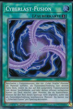 Cyberlast-Fusion, welche benutzt wird um in Yugioh Cyber Drachen Fusionsmonster spezialzubeschwören