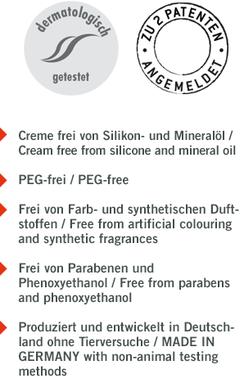 -Frei von Silikon- und Mineralöl -PEG-frei -Frei von Farb- und synthetischen Duftstoffen -Frei von Parabenen und Phenoxyethanol -Produziert und entwickelt in Deutschland ohne Tierversuche