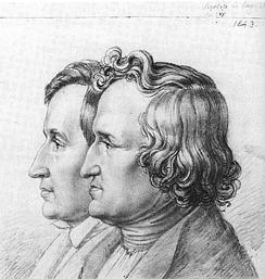 Jacob und Wilhelm Grimm, Zeichnung vom Bruder Ludwig Emil Grimm, 1843