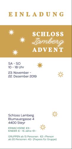 Flyer Rückseite, Einladung Weihnachtsausstellung Schloss Lamberg, www.schloss-advent.at, Beate Seckauer, Adventmarkt Steyr