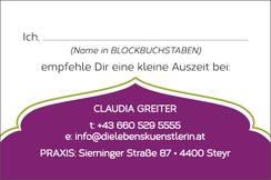Claudia Greiter, Die Lebenskünstlerin, Visitenkarte Rückseite