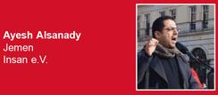 23.03.2019 - Berlin: Solidaritätskundgebung zum 4. Jahrestag saudischer Krieg gegen den Jemen - Redner - Ayesh Alsanady, Jemen - Insan e.V.