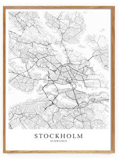 Skandinavische Poster - Stockholm Karte