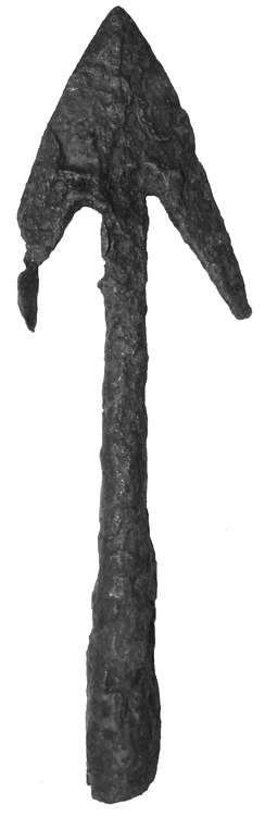 Medieval European Arrowhead with two barbed hooks