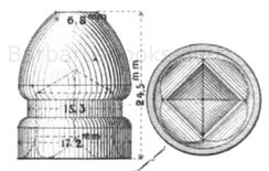Nesslers Expansionsgeschoss für das gezogene Gewehr. (Muster 1865) der französischen Linien - Infanterie. Ansicht von der Seite und von unten.