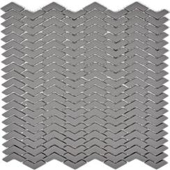Glasmosaik Fischgrät grau
