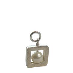 Geometrischer Schmuck Anhänger 3-dimensionales Quadrat mit weißer Zuchtperle