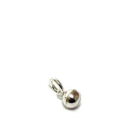 Mini kleiner runder Kettenanhänger Glocke, Schelle aus 925 Sterlingsilber