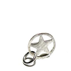 925 Silber Anhänger für Herren und Damen Ketten Fünfeckstern gerahmt in Kreis mit Öse