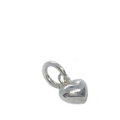 ♥ mini kleiner dreidimensionaler Herz Anhänger in Silber für feine Halsketten